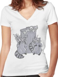 Fancy Racoon masks  Women's Fitted V-Neck T-Shirt