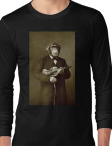 Chimp with a violin Long Sleeve T-Shirt