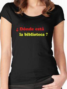 Donde esta la biblioteca? Women's Fitted Scoop T-Shirt
