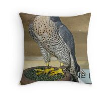 Peregrine on block perch. Throw Pillow