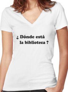 Donde esta la biblioteca? (black) Women's Fitted V-Neck T-Shirt
