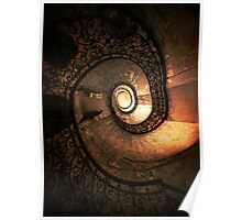 Ornamented spiral staircase in brown tones Poster