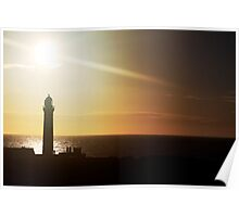 Sunrise over Peterhead light house (scotland) Poster