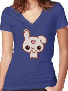 Cute Bunny Women's Fitted V-Neck T-Shirt
