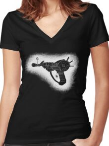 Sketchy Ray gun white version Women's Fitted V-Neck T-Shirt