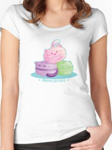 Cute Kitty Cat Macarons Women's Fitted Scoop T-Shirt