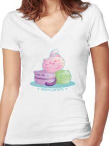 Cute Kitty Cat Macarons Women's Fitted V-Neck T-Shirt