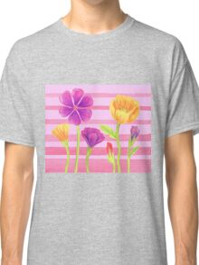 Happy Flowers In The Garden Classic T-Shirt