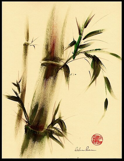 """Calm""  Sumi e bamboo painting by Rebecca Rees"