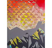 Mountain Landscape 1 - inspired by mountain landscapes, geometry. acrylic and ink on wood Photographic Print