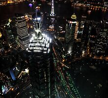 Jin Mao Tower at Night from Above - Shanghai by Holger Mader