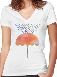 Rainbow Umbrella Women's Fitted V-Neck T-Shirt