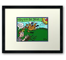 A Boy and His Pet Stick Framed Print