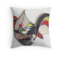 Colored Cock in Wonderland Throw Pillow