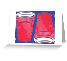 Red Solo Cup Pattern on Blue Greeting Card