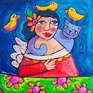 Hola! Lovebirds by ART PRINTS ONLINE         by artist SARA  CATENA