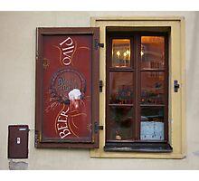 Prague Bar Window 2 Photographic Print