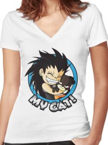Gajeel - My Cat  Women's Fitted V-Neck T-Shirt