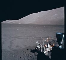Apollo Archive 0155 Moon Rover and Mountains on Lunar Surface by wetdryvac