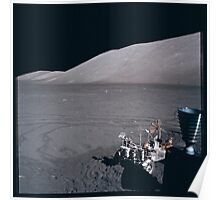 Apollo Archive 0155 Moon Rover and Mountains on Lunar Surface Poster
