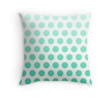 Mint Ombre Polka Dots Throw Pillow