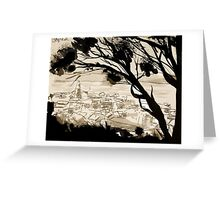 landscape with forground trees Greeting Card