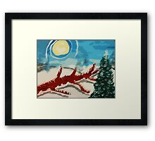 Dead tree in the snow, watercolor Framed Print