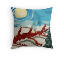 Dead tree in the snow, watercolor Throw Pillow