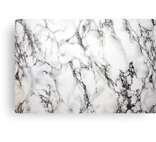 White Marble Stone, Gray Accents Canvas Print