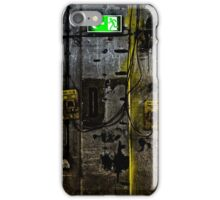 concrete wall with an illuminated escape route and emergency switch iPhone Case/Skin