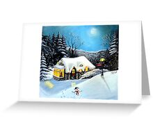 Winter Cottage with Snowman Greeting Card