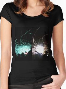 Rave Concert Print Women's Fitted Scoop T-Shirt