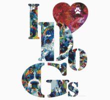 I Love Dogs by Sharon Cummings Kids Tee