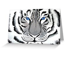 White Tiger with Piercing Blue Eyes Greeting Card