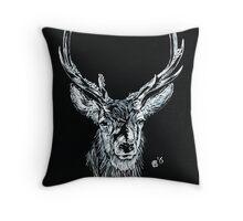 Snow Stag Throw Pillow