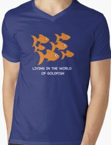 Living in the World of Goldfish Mens V-Neck T-Shirt