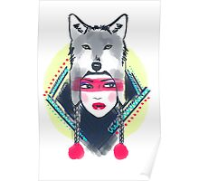 Girl with wolf hat Poster
