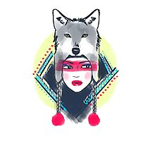 Girl with wolf hat Photographic Print