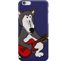 Cool Funny Gray Wolf Playing a Red Guitar iPhone Case/Skin