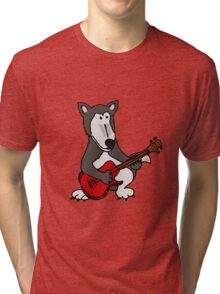 Cool Funny Gray Wolf Playing a Red Guitar Tri-blend T-Shirt