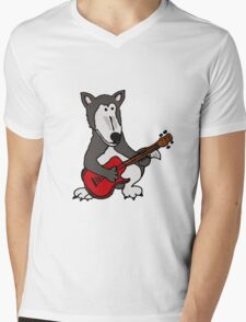 Cool Funny Gray Wolf Playing a Red Guitar Mens V-Neck T-Shirt