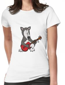 Cool Funny Gray Wolf Playing a Red Guitar Womens Fitted T-Shirt