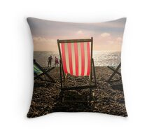 Evening walk on the beach Throw Pillow