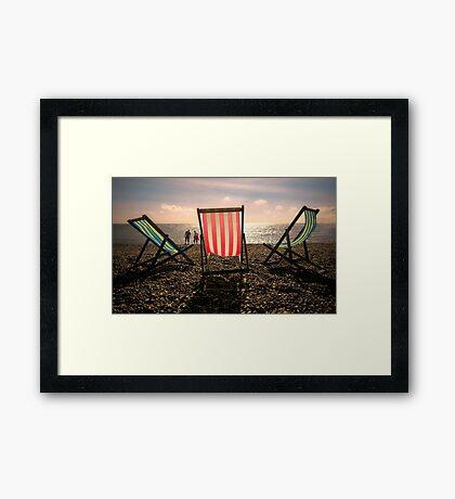 Evening walk on the beach Framed Print