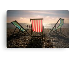 Evening walk on the beach Metal Print