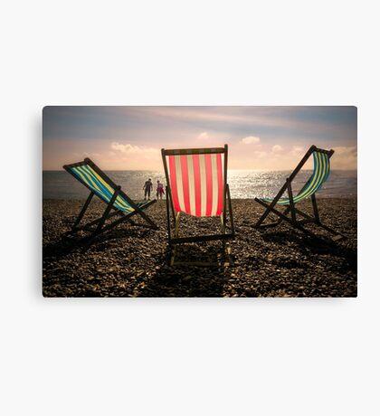 Evening walk on the beach Canvas Print