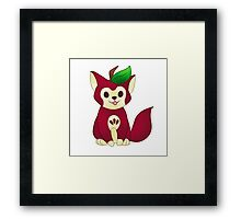 Red Delicious Apple Cat Framed Print