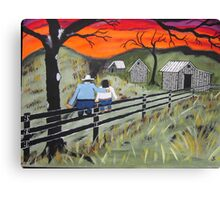 Sunset on the Fence Canvas Print