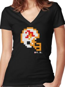 Tecmo Bowl - Tampa Bay Buccaneers - 8-bit - Mini Helmet shirt Women's Fitted V-Neck T-Shirt