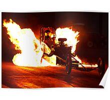 Flaming Burnout at Dragstalgia, Santa Pod Poster